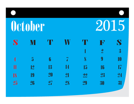 kalender oktober: Kalender oktober 2015. Stock Illustratie