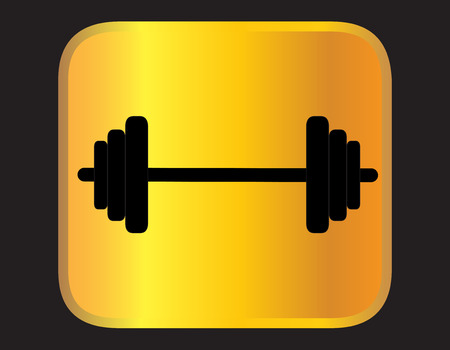Dumbbell vector on black background Vector