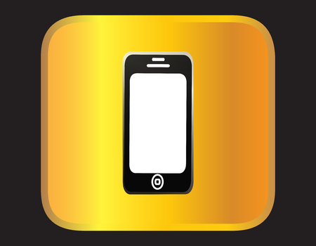 Smartphone on the gold background Vector