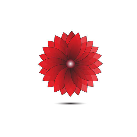 Abstract flower red geometrical background. vector Vector