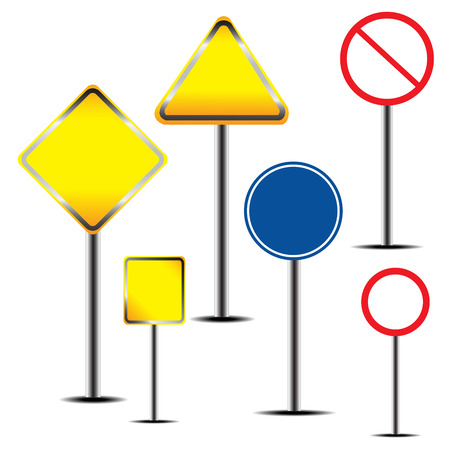 Blank warning road sign. vector illustration Vector