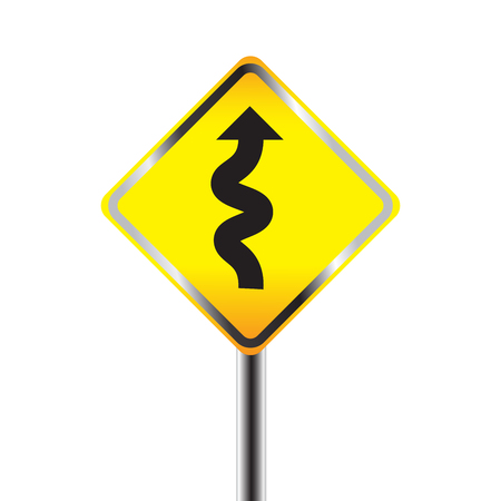 curve ahead sign: Traffic sign with winding road