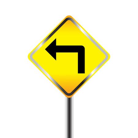 curve ahead sign: Turn left traffic sign on white  Illustration