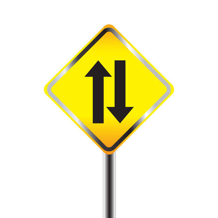 two way traffic: Two way traffic sign. vector illustration Illustration