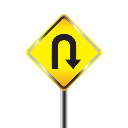 U-Turn road sign. Yellow road sign with turn symbol isolated on white background Vector