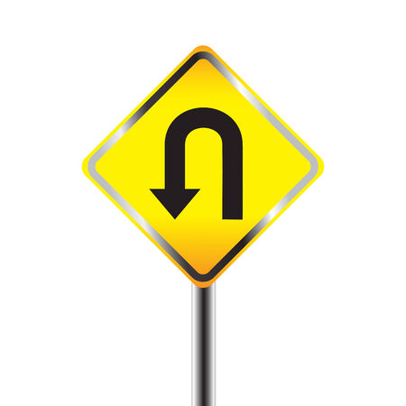 turn yellow: U-Turn road sign. Yellow road sign with turn symbol isolated on white background Illustration