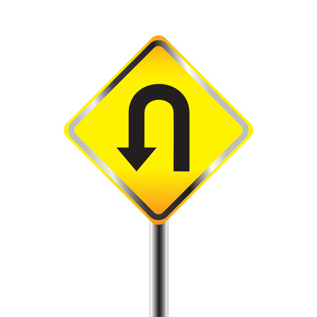 u turn: U-Turn road sign. Yellow road sign with turn symbol isolated on white background Illustration