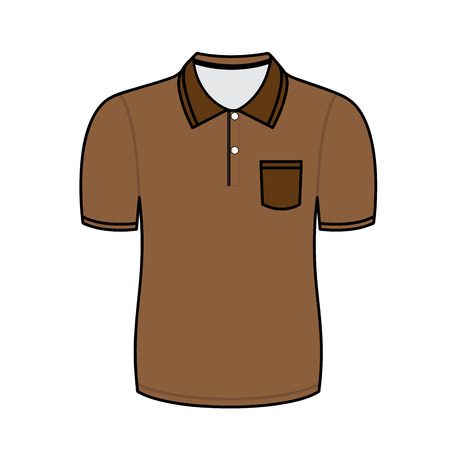 brown shirt: Brown polo shirt outline on white background Illustration