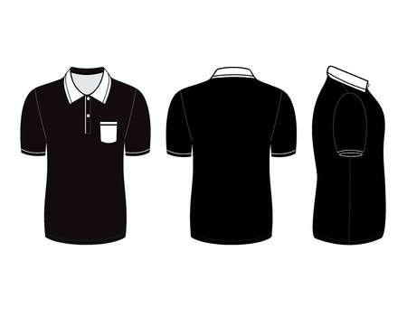 polo shirt design templates (front, back and side views). Vector illustration Vector