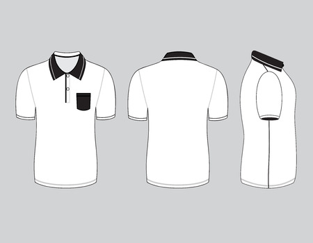 polo shirt design templates (front, back and side views). Vector illustration