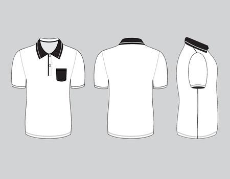 Polo-Shirt-Design-Vorlagen (vorne, hinten und Seitenansicht). Vektor-Illustration Standard-Bild - 34667618
