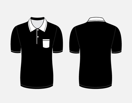Vector illustration of black polo t-shirt. Front and back views