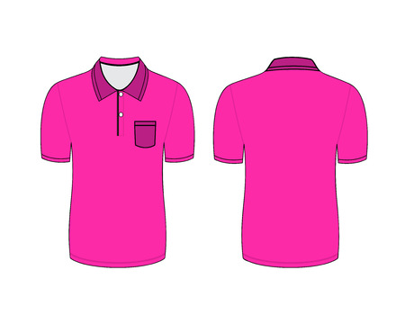 Vector illustration of pink polo t-shirt. Front and back views Vector