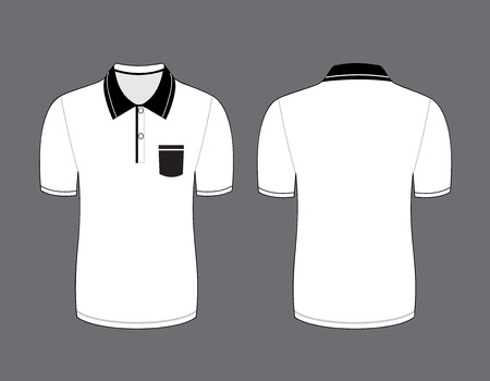 Vector illustration of white polo t-shirt. Front and back views Vector