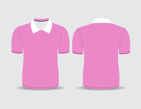 Vector illustration of pink polo t-shirt Front and back views Vector
