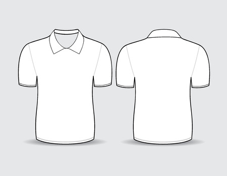 Vector illustration of white polo t-shirt Front and back views Ilustração