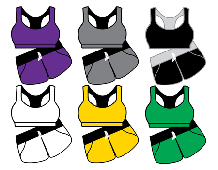 front views: Blank womens sports suit in front views. Vector illustration