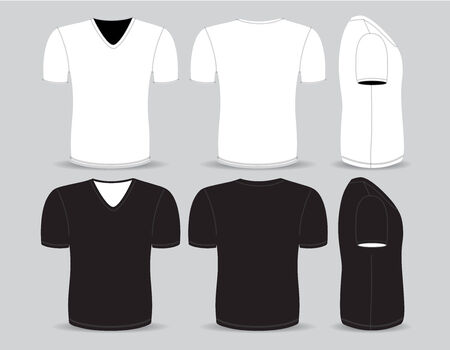 Front,back and side views of blank t-shirt Vector