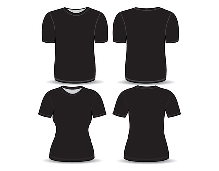 T-shirt black template for man and woman (front and back views) Vector