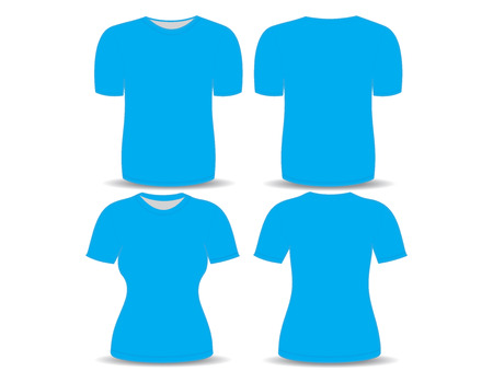 T-shirt blue template for man and woman (front and back views) Vector