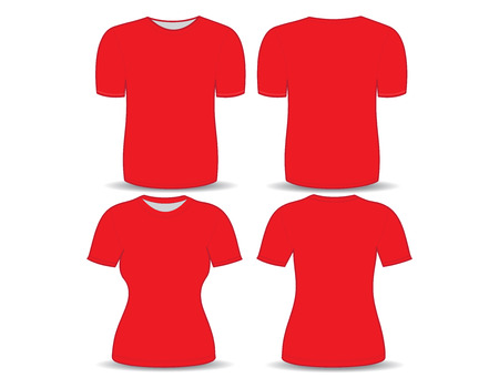 T-shirt red template for man and woman (front and back views)
