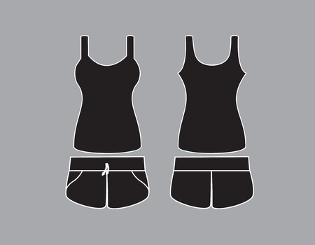 night suit: Vector illustration of Singlet and shorts. Front and back views