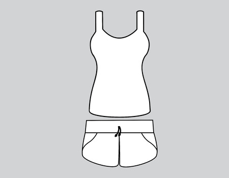 front views: Vector illustration of Singlet and shorts. Front views Illustration