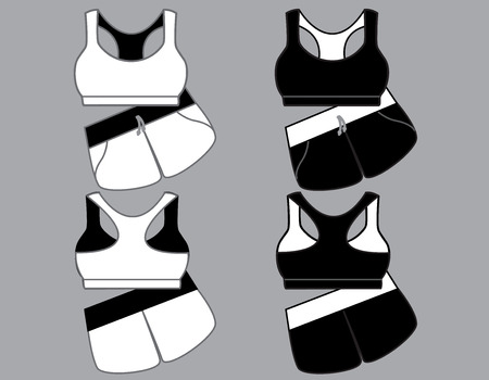 night suit: Vector illustration of womens sport underwear. Bra and shorts. Front and back views Illustration