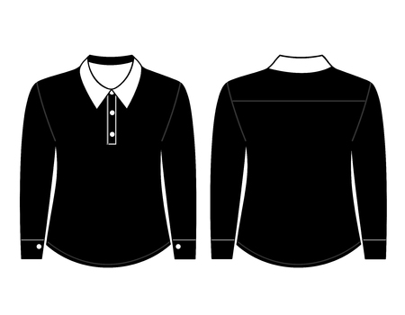 sleeves: Blank shirt with long sleeves template for men (front and back views)