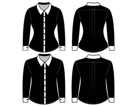 Blank shirt with long sleeves template for man and woman (front and back views) Vector