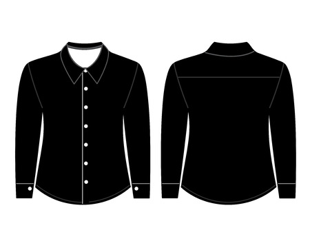 button down shirt: Blank shirt with long sleeves template for men (front and back views)