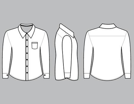 Blank shirt with long sleeves template for men (Front,back and side views)