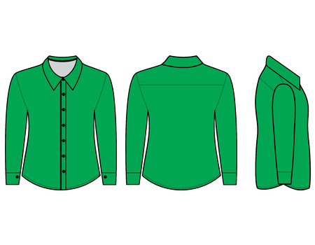 button down shirt: Blank shirt with long sleeves template for men (Front,back and side views)