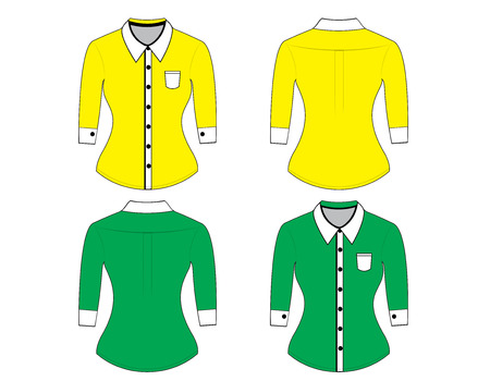button down shirt: Blank shirt with long sleeves template for woman (front and back views)