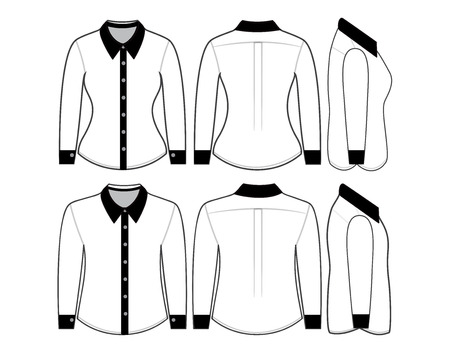 photorealistic: Blank shirt with long sleeves template for man and woman (front, back and side views)