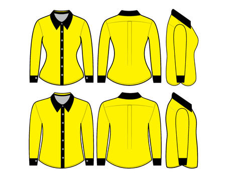 button down shirt: Blank shirt with long sleeves template for man and woman (front, back and side views)