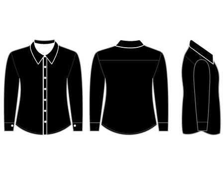 blank shirt: Blank shirt with long sleeves template for men (Front,back and side views)
