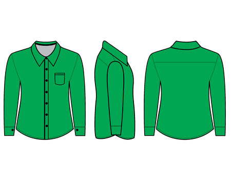 photorealistic: Blank shirt with long sleeves template for men (Front,back and side views)