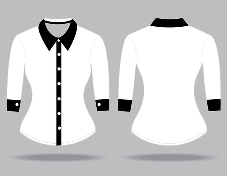 sleeves: Blank shirt with long sleeves template for woman (front and back views)