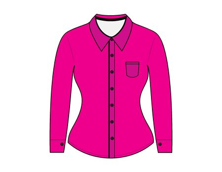 long sleeves: Blank shirt with long sleeves template for woman Illustration