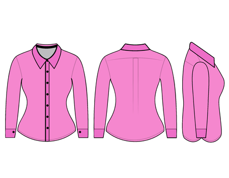 button down shirt: Blank shirt with long sleeves template for women (front, back and side views)