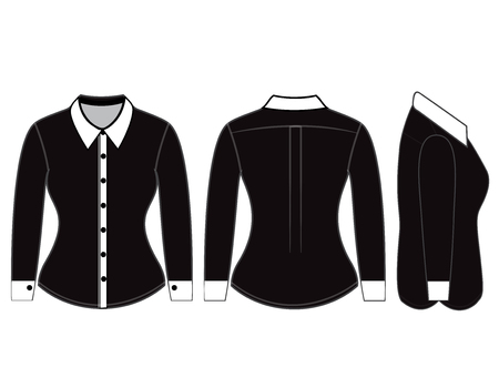 photorealistic: Blank shirt with long sleeves template for women (front, back and side views)
