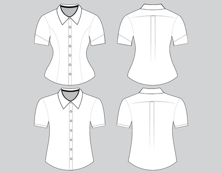 Blank shirt with short sleeves template for man and woman (front and back views) Vector