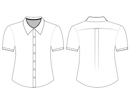 Blank shirt with short sleeves template for men (front and back views) Ilustração