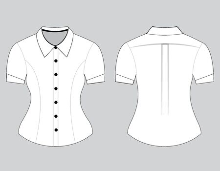 sleeves: Blank shirt with short sleeves template for women (front and back views)