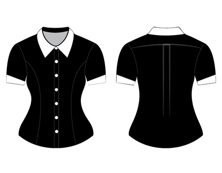 blank shirt: Blank shirt with short sleeves template for women (front and back views)