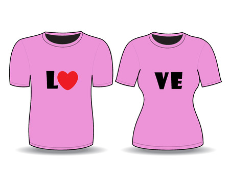 front views: T-shirt pink  template for man and woman (front views)