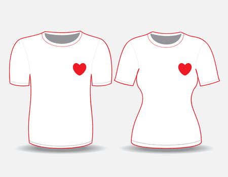 woman white shirt: T-shirt white  template for man and woman (front views) Illustration