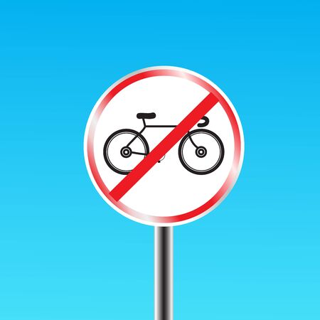 forbidden love: Bicycles prohibited sign Illustration