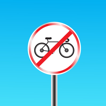 prohibited: Bicycles prohibited sign Illustration